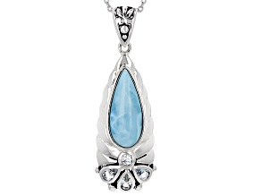 Pre-Owned Blue Larimar Silver Pendant With Chain .89ctw