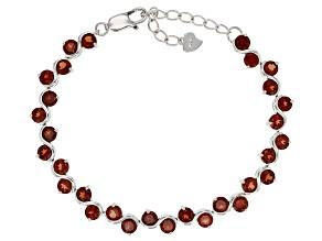 Pre-Owned Red Garnet Sterling Silver Bracelet 8.24ctw