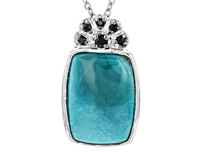 Pre-Owned Blue Turquoise Sterling Silver Pendant With Chain .08ctw