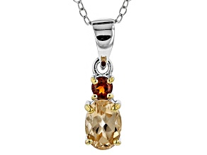 Pre-Owned Golden Hessonite Sterling Silver 2-Stone Pendant With Chain 1.02ctw