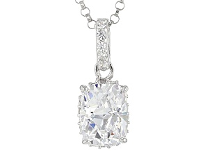 Pre-Owned White Cubic Zirconia Platineve Pendant With Chain 3.00ctw