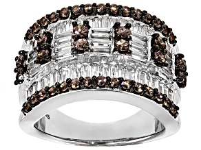 Pre-Owned Brown And White Cubic Zirconia Silver Ring 4.93ctw (3.63ctw DEW)