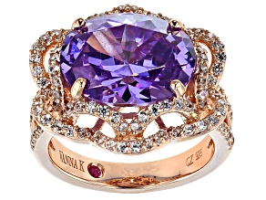 Pre-Owned Purple And White Cubic Zirconia 18k Rose Gold Over Sterling Silver Ring 12.46ctw