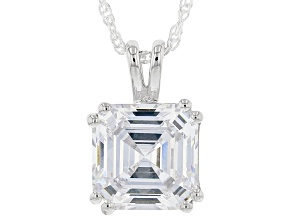 Pre-Owned White Cubic Zirconia Rhodium Over Sterling Silver Asscher Cut Pendant With Chain 8.49ctw