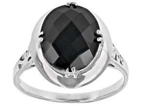 Pre-Owned Black Spinel Rhodium Over Sterling Silver Ring  4.00ct