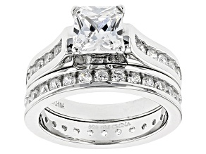 Pre-Owned White Cubic Zirconia Rhodium Over Sterling Silver Ring With Band 3.77ctw