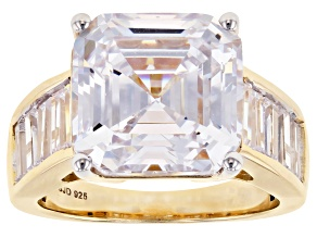 Pre-Owned White Cubic Zirconia 18k Yellow Gold Over Sterling Silver Ring 15.67ctw
