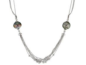 Pre-Owned 12mm Cultured Tahitian Pearl, Rhodium Over Sterling Silver 20 Inch Necklace