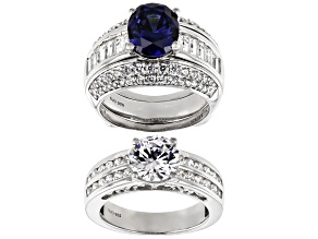 Pre-Owned Blue and White Cubic Zirconia Rhodium Over Sterling Silver Rings With Guard 11.54ctw