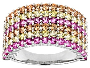 Pre-Owned Pink, Orange, And Yellow Cubic Zirconia Rhodium Over Sterling Silver Ring 4.32ctw