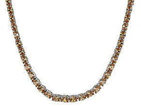 Pre-Owned Bella Luce® 26.13ctw Champagne Diamond Simulant Rhodium Over Silver Necklace