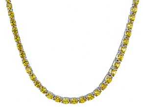 Pre-Owned Bella Luce® 26.13ctw Oval Yellow Diamond Simulant Rhodium Over Silver Necklace