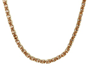 Pre-Owned Bella Luce® 26.13ctw Champagne Diamond Simulant 18k Gold Over Silver Necklace