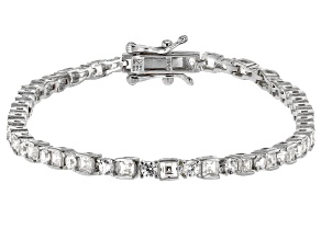 Pre-Owned White Cubic Zirconia Rhodium Over Sterling Silver Tennis Bracelet 5.70ctw