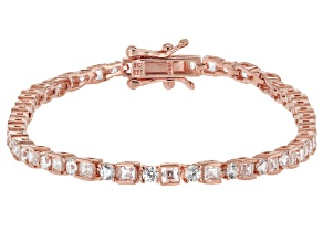 Pre-Owned White Cubic Zirconia 18K Rose Gold Over Sterling Silver Tennis Bracelet 5.70ctw