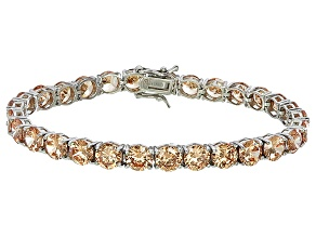 Pre-Owned Bella Luce® 35.82ctw Champagne Diamond Simulant Rhodium Over Silver Bracelet