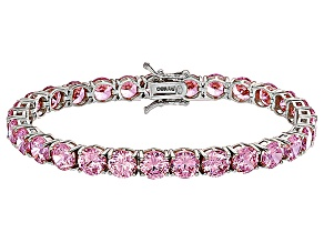 Pre-Owned Bella Luce® 35.82ctw Round Pink Diamond Simulant Rhodium Over Silver Bracelet
