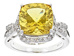 Pre-Owned Yellow Golden Apatite Sterling Silver Ring 6.09ctw