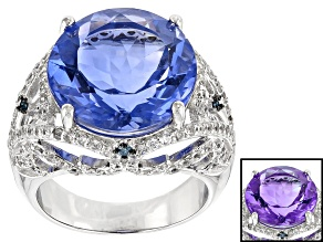 Pre-Owned Blue Color Change Fluorite Rhodium Over Sterling Silver Ring 14.17ctw