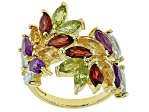 Pre-Owned Mixed-color gemstone 18k gold over silver ring 4.60ctw