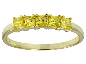 Pre-Owned Bella Luce® Yellow Diamond Simulant 18k Gold Over Sterling Silver 5 Stone Ring