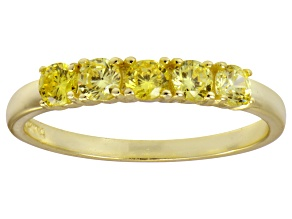 Pre-Owned Bella Luce® Round Yellow Diamond Simulant 18k Gold Over Sterling Silver Ring