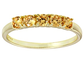 Pre-Owned Bella Luce® Champagne Diamond Simulant 18k Gold Over Sterling Silver Ring