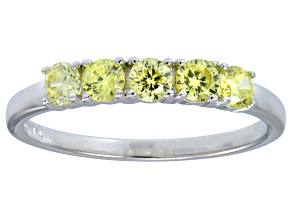 Pre-Owned Bella Luce® .90ctw Round Yellow Diamond Simulant Sterling Silver Ring