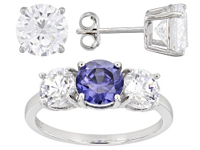 Pre-Owned Blue And White Cubic Zirconia Rhodium Over Sterling Jewelry Set 14.80ctw