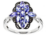 Pre-Owned Blue tanzanite rhodium over sterling silver ring 1.09ctw