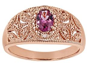 Pre-Owned Pink garnet 18k rose gold over sterling silver ring .57ctw