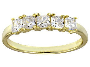 Pre-Owned Bella Luce® White Diamond Simulant 18k Gold Over Sterling Silver 5 Stone Ring