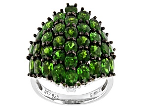 Pre-Owned Green chrome diopside rhodium over sterling silver cluster ring 6.42ctw