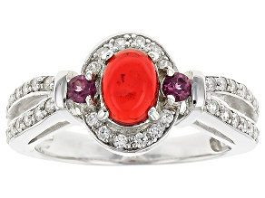 Pre-Owned Orange Ethiopian Opal Sterling Silver Ring. .66ctw