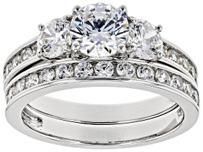 Pre-Owned Swarovski® White Zirconia Platinum Over Sterling Silver Ring With Band 3.75ctw