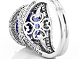 Pre-Owned Blue And White Cubic Zirconia Rhodium Over Silver Ring 11.57ctw