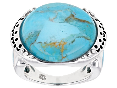 Pre-Owned Turquoise Rhodium Over Silver Ring