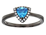 Pre-Owned Blue And White Cubic Zirconia Black Rhodium Over Sterling Silver Ring 1.11ctw