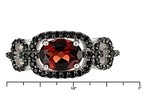 Pre-Owned Red Garnet Rhodium Over Sterling Silver Ring 1.96