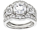 Pre-Owned White crystal quartz rhodium over sterling silver ring set 3.56ctw
