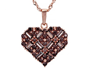 Pre-Owned Mocha Cubic Zirconia 18K Rose Gold Over Sterling Silver Heart Pendant With Chain 3.98ctw