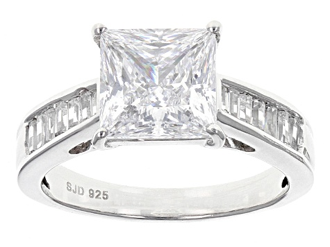 Pre-Owned Cubic Zirconia Silver Ring With Band 6.39ctw (4.66ctw DEW)