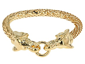 Pre-Owned 18k Yellow Gold Over Bronze Elephant Head Bracelet 7.5 inch