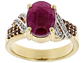 Pre-Owned Red Ruby 18k Yellow Gold Over Silver Ring 3.88ctw