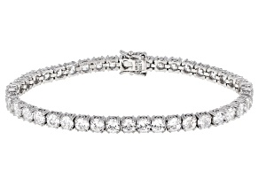 Pre-Owned White Cubic Zirconia Platinum Over Sterling Silver Tennis Bracelet 20.71ctw