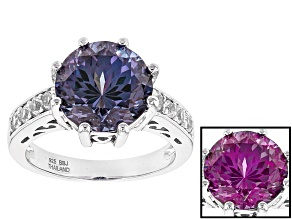 Pre-Owned Color Change Lab Created Purple Sapphire Sterling Silver Ring 4.88ctw