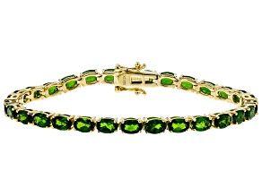 Pre-Owned Green chrome diopside 18k gold over silver bracelet 12.57ctw