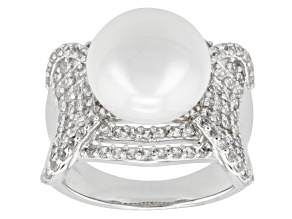 Pre-Owned White Cultured Freshwater Pearl, White Zircon Rhodium Over Silver Ring
