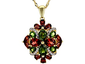 Pre-Owned Green chrome diopside 18k yellow gold over silver pendant with chain 5.88ctw
