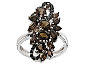 Pre-Owned Brown smoky quartz rhodium over silver ring 2.40ctw